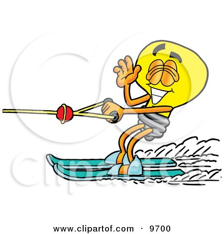 Clipart Picture of a Light Bulb Mascot Cartoon Character Waving While Water Skiing by Toons4Biz