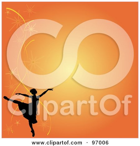 Royalty-Free (RF) Clipart Illustration of an Orange Ballet Background Of A Silhouetted Ballerina And Fireworks by Pams Clipart