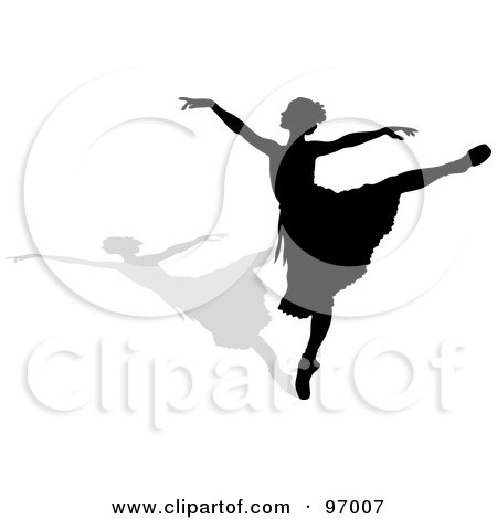 Royalty-Free (RF) Clipart Illustration of a Graceful Black Ballerina Silhouette Dancing With A Shadow by Pams Clipart
