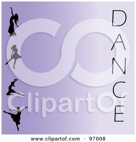 Royalty-Free (RF) Clipart Illustration of a Purple Ballet Background With Silhouetted Ballerinas And The Word Dance by Pams Clipart