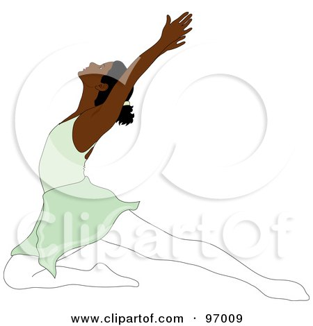 Royalty-Free (RF) Clipart Illustration of a Graceful Black Ballerina Lunging On One Knee by Pams Clipart