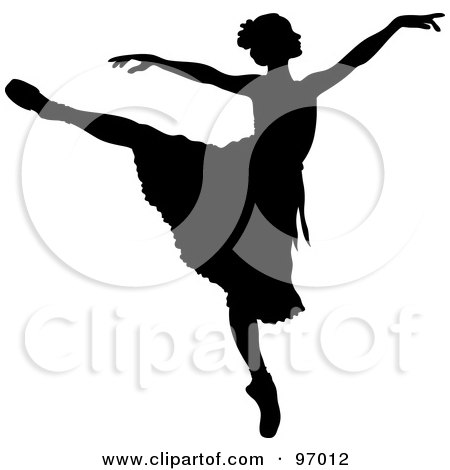 Royalty-Free (RF) Clipart Illustration of a Black Ballerina Silhouette Dancing With Her Arms Out And One Leg Up by Pams Clipart