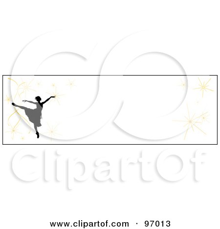 Royalty-Free (RF) Clipart Illustration of a Ballet Border Of A Silhouetted Ballerina With Fireworks Over White by Pams Clipart