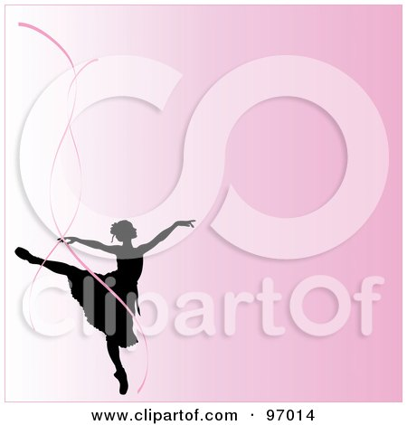 Royalty-Free (RF) Clipart Illustration of a Pink Ballerina Background With A Silhouetted Dancer And Pink Ribbons by Pams Clipart