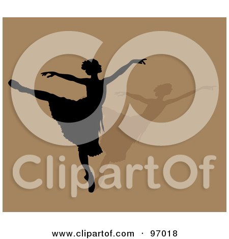 Royalty-Free (RF) Clipart Illustration of a Graceful Ballerina In Silhouette, Dancing Over A Shadow On Brown by Pams Clipart