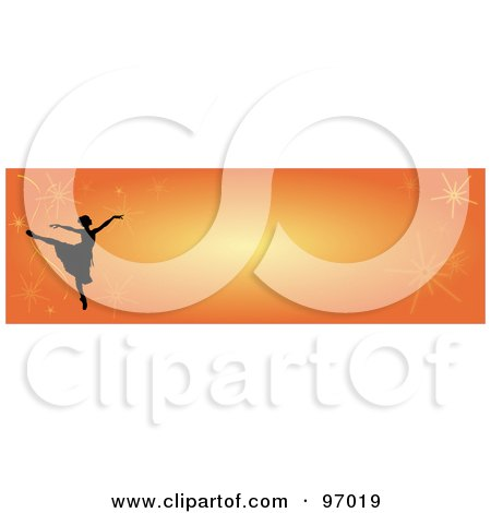 Royalty-Free (RF) Clipart Illustration of a Ballet Border Of A Silhouetted Ballerina With Fireworks On Orange by Pams Clipart