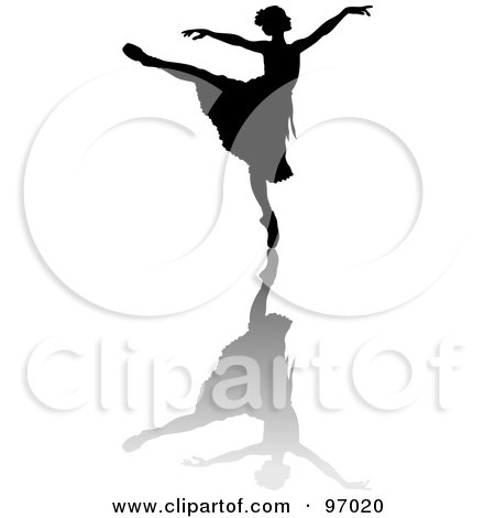 Royalty-Free (RF) Clipart Illustration of a Black Ballerina Silhouette Gracefully Dancing With A Shadow by Pams Clipart