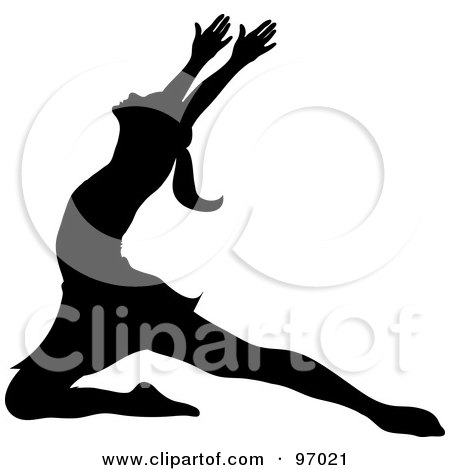 Royalty-Free (RF) Clipart Illustration of a Black Silhouetted Ballerina Lunging Onto Her Knee by Pams Clipart