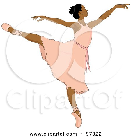 Royalty-Free (RF) Clipart Illustration of a Beautiful Indian Ballerina Dancing In A Pink Dress by Pams Clipart