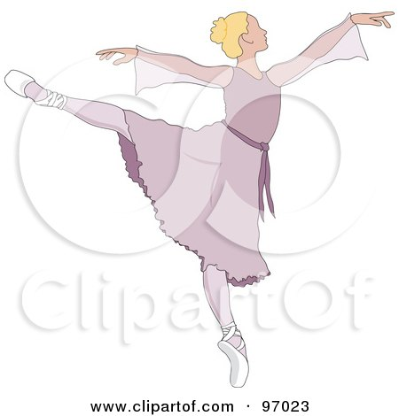 Royalty-Free (RF) Clipart Illustration of a Beautiful Blond Ballerina Dancing In A Purple Dress by Pams Clipart