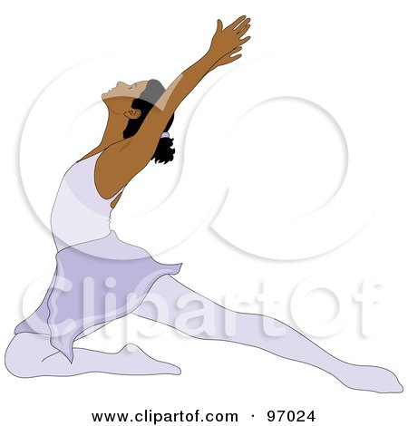 Royalty-Free (RF) Clipart Illustration of a Graceful Hispanic Ballerina Lunging On One Knee by Pams Clipart