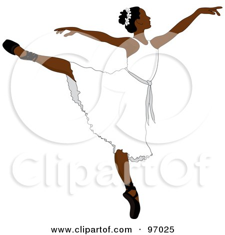 Royalty-Free (RF) Clipart Illustration of a Beautiful African Ballerina Dancing In A White Dress by Pams Clipart