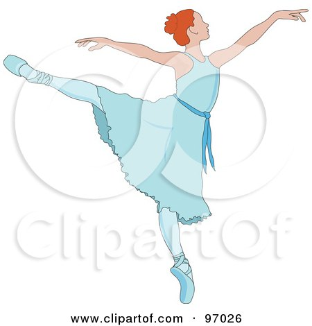 Royalty-Free (RF) Clipart Illustration of a Beautiful Irish Ballerina Dancing In A Blue Dress by Pams Clipart