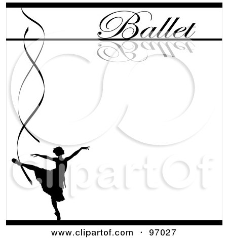 Royalty-Free (RF) Clipart Illustration of a Ballet Background With A Silhouetted Ballerina And Ribbons Over White by Pams Clipart