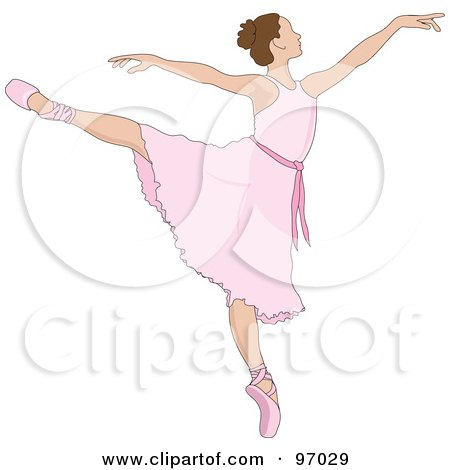 Royalty-Free (RF) Clipart Illustration of a Beautiful Brunette Ballerina Dancing In A Pink Dress by Pams Clipart