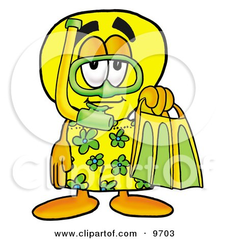 Light Bulb Mascot Cartoon Character in Green and Yellow Snorkel Gear Posters, Art Prints