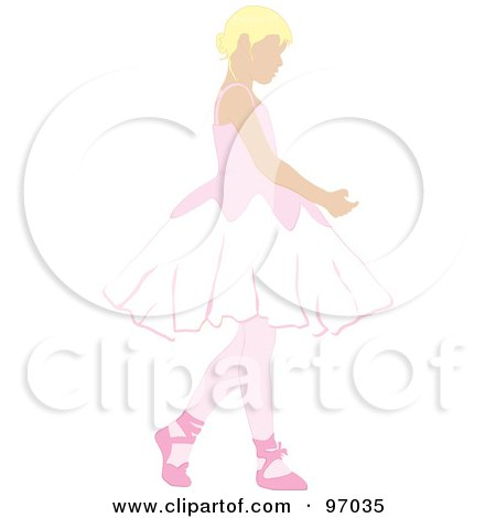 Royalty-Free (RF) Clipart Illustration of a Blond Ballerina Girl Dancing by Pams Clipart