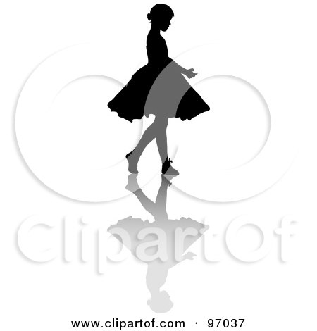 Royalty-Free (RF) Clipart Illustration of a Little Girl Ballerina Silhouette With A Shadow by Pams Clipart