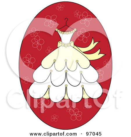 Royalty-Free (RF) Clipart Illustration of a Cream And Yellow Wedding Dress On A Hanger Over A Red Floral Oval by Pams Clipart