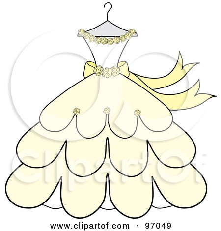 Cream And Yellow Wedding Dress With Roses On A Hanger Posters Art Prints