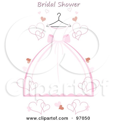 pink and white wedding dress on a hanger with hearts and bridal shower text by pams clipart