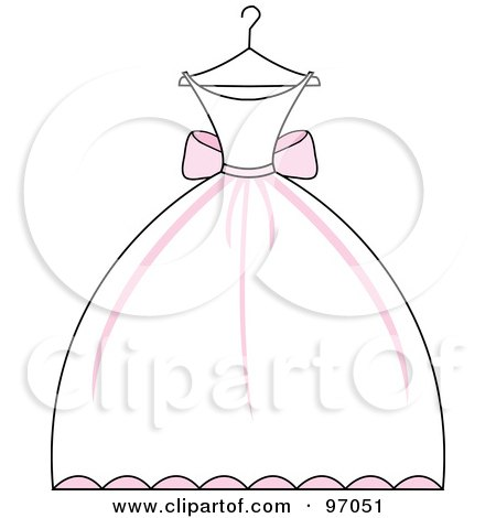 Pink And White Wedding Dress On A Hanger Posters, Art Prints