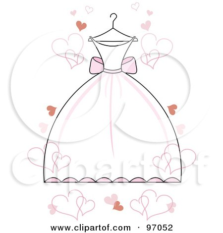 White Wedding Dress With Pink Accents On A Hanger With Floating Hearts