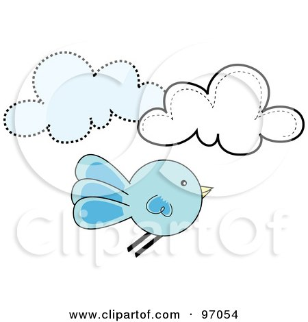 Royalty-Free (RF) Clipart Illustration of a Round Bluebird Flying By Clouds by Pams Clipart