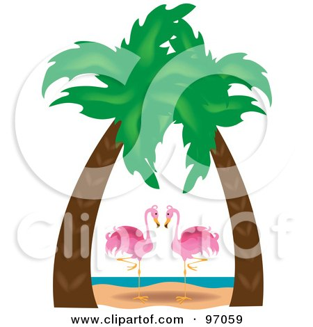 Royalty-Free (RF) Clipart Illustration of a Pink Flamingo Pair Gazing Under Palm Trees On A Tropical Beach by Pams Clipart