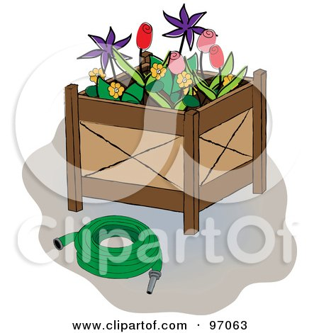 Royalty-Free (RF) Clipart Illustration of a Green Hose Beside A Flower Planter Box by Pams Clipart