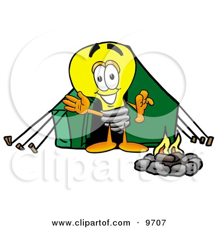 Light Bulb Mascot Cartoon Character Camping With a Tent and Fire Posters, Art Prints