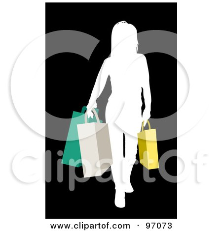 Royalty-Free (RF) Clipart Illustration of a White Silhouetted Woman Carrying Colorful Shopping Bags by KJ Pargeter