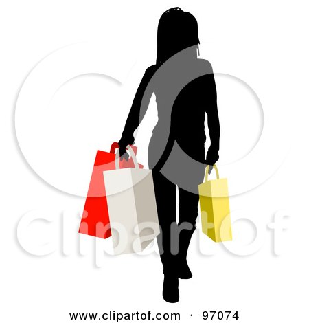 Royalty-Free (RF) Clipart Illustration of a Black Silhouetted Woman Carrying Colorful Shopping Bags by KJ Pargeter