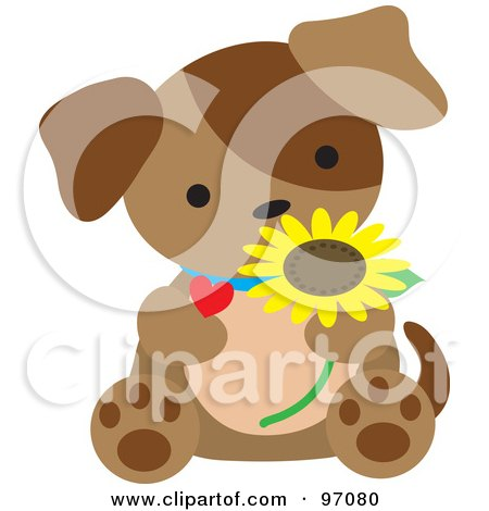 Royalty-Free (RF) Clipart Illustration of a Brown Puppy Dog Sitting With A Daisy And Heart by Maria Bell