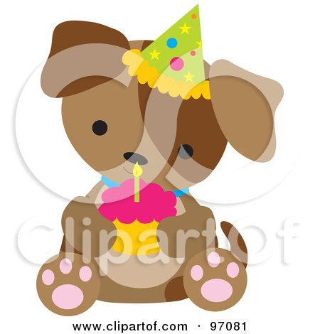 Royalty-Free (RF) Clipart Illustration of a Brown Puppy Dog Wearing A Birthday Party Hat And Holding A Cupcake by Maria Bell