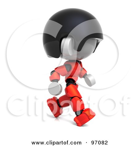 Royalty-Free (RF) Clipart Illustration of a 3d Red Asian Robot Character Walking Right by Tonis Pan