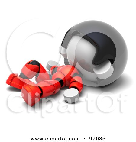 Royalty-Free (RF) Clipart Illustration of a 3d Red Asian Robot Character Resting On His Back by Tonis Pan