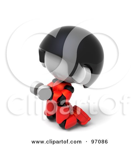 Royalty-Free (RF) Clipart Illustration of a 3d Red Asian Robot Character Kneeling And Begging by Tonis Pan