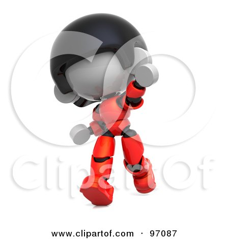 Royalty-Free (RF) Clipart Illustration of a 3d Red Asian Robot Character Running And Pointing by Tonis Pan