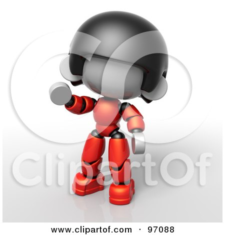 Royalty-Free (RF) Clipart Illustration of a 3d Red Asian Robot Character Waving by Tonis Pan