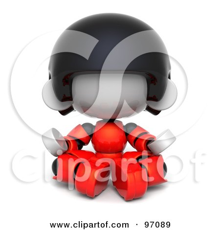Royalty-Free (RF) Clipart Illustration of a 3d Red Asian Robot Character Meditating And Facing Front by Tonis Pan