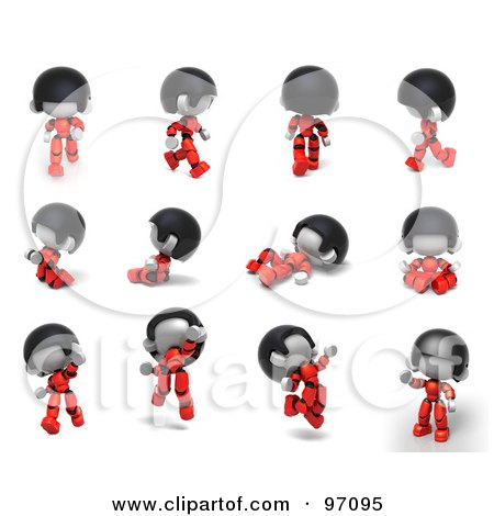 Royalty-Free (RF) Clip Art Illustration of a Digital Collage Of A 3d Red Asian Robot Character In 12 Different Poses by Tonis Pan