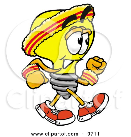 Clipart Picture of a Light Bulb Mascot Cartoon Character Speed Walking or Jogging by Toons4Biz