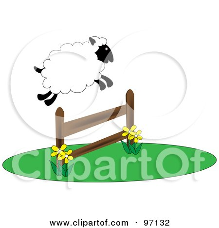 Royalty-Free (RF) Clipart Illustration of a Fluffy Sheep Leaping Over A Fence by Pams Clipart
