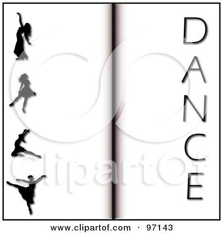 Royalty-Free (RF) Clipart Illustration of an Open Book Background Of Silhouetted Ballerinas And The Word Dance by Pams Clipart