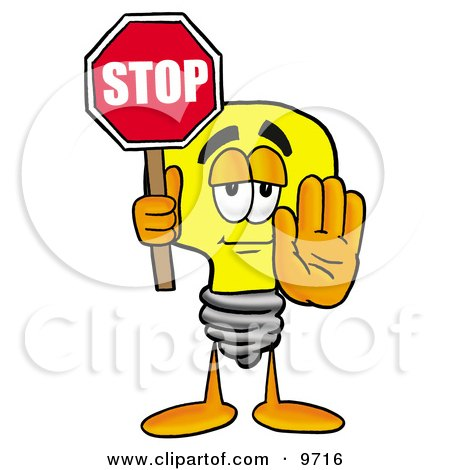 Clipart Picture of a Light Bulb Mascot Cartoon Character Holding a Stop Sign by Toons4Biz