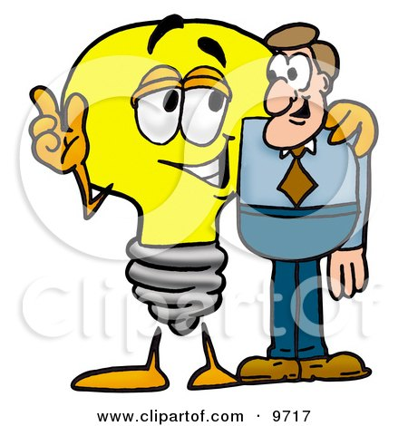 Clipart Picture of a Light Bulb Mascot Cartoon Character Talking to a Business Man by Toons4Biz
