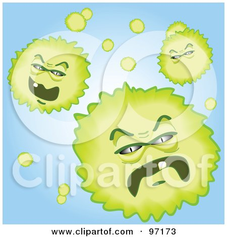 Royalty-Free (RF) Clipart Illustration of Three Green Pollen Specks Moving Forward To Attack by tdoes