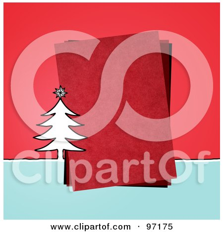 Royalty-Free (RF) Clipart Illustration of a Christmas Tree By A Piece Of Red Paper Over Red by NL shop