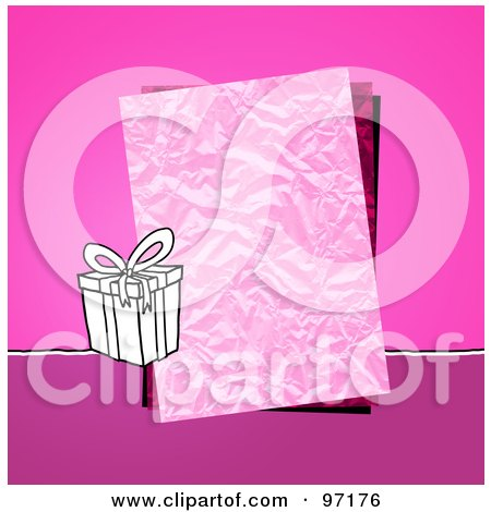 Royalty-Free (RF) Clipart Illustration of a Gift Box By A Crinkled Piece Of Paper Over Pink by NL shop